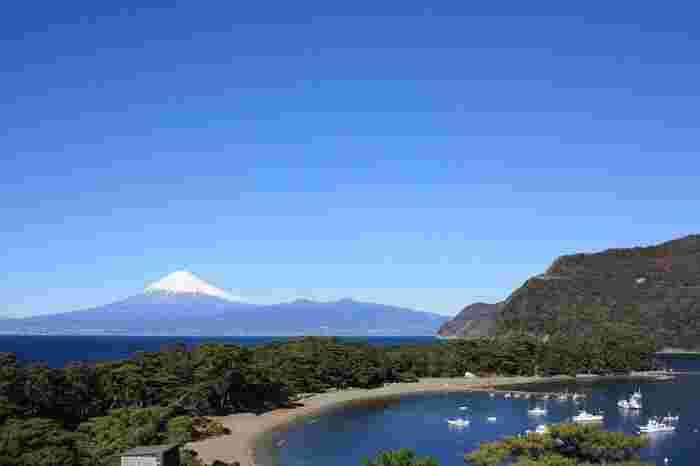 独特の形をした「御浜岬」と富士山の素晴らしい景色が眺められるのは、「夕映えの丘」。戸田の御浜岬と富士山の素晴らしい景色。