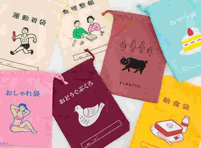 体操袋をイメージして作られた、巾着袋。バッグインバッグとして使える小さめサイズになっているので、いろんなものの収納・整理に使えます。メイク道具、お菓子、ノートやメモ帳など、袋のデザインに合わせて使うのもアリ!ゆるめのイラストとレトロなカラーのかわいい巾着袋です。