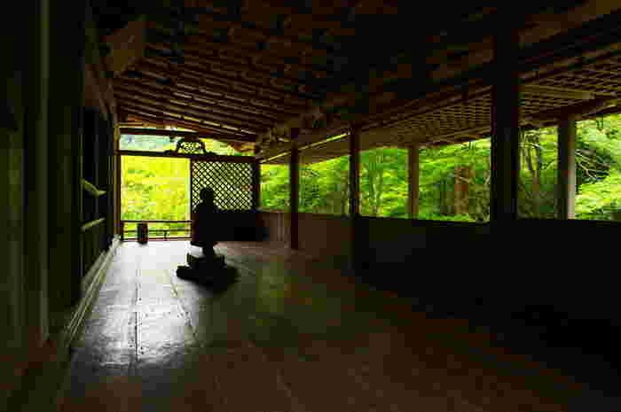 【石水院「庇の間」は、光と陰の対比と、そのあわいの幽玄な雰囲気が魅力の空間です。】