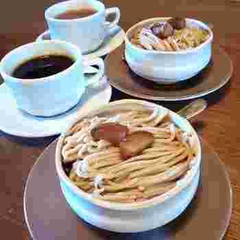 「和栗のモンブラン」は、中にわらび餅とメレンゲのクッキーが入っているオリジナルスイーツ。ぽってりとした器に盛り付けてあり、お店の雰囲気にぴったりですね。