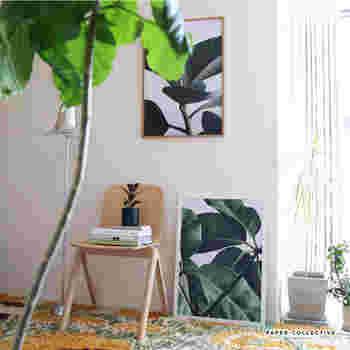 観葉植物を置きたいところに、このポスターを飾ってみてはいかがでしょうか。 新しいグリーンインテリアとしてもセンス抜群ですよ。