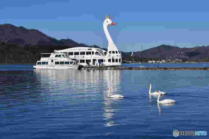 """「白鳥の湖」は""""日本一の富士の麓山中湖に、日本一美しい白鳥を浮かばせよう""""をコンセプトにした遊覧船です。老若男女に親しみを持ってもらえるようにデザインされたその姿はとてもキュート。山中湖を25分間かけて一周します。180名も乗船できる大型船なので、お一人様でも利用しやすく優雅に景色を堪能できますね。"""