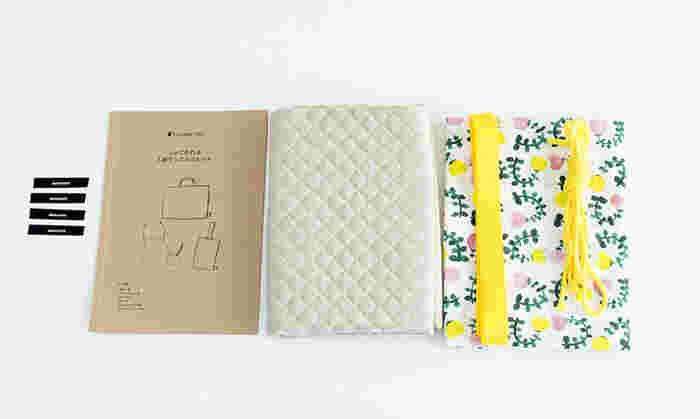 「入園グッズ4点キット」など、布も紐なども全部キットになっているのもたくさん販売されています♪作り方も丁寧に記されていますし、こんな便利なセットがあるのなら、利用するのも一案ですよね。