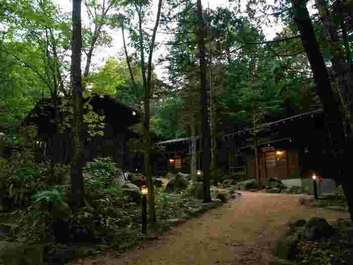 さて、「ひらゆの森」に宿泊するなら、本館(和室・洋室)、新館(和室・洋室・和洋室)から選ぶ方が多いですが、今回おすすめしたいのは、平湯の森の離れコテージ「板蔵の郷」です。  全5棟あり、それぞれトイレ・洗面などはもちろん、専用の露天風呂が付いていますよ◎ まわりは緑豊かな森なので、大切な人と、水要らずのひと時をゆっくり楽しめるはず。