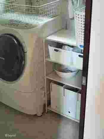 忙しい日はちょっと憂鬱な洗濯も、ランドリースペースが整っているとはかどります。収納を全部ホワイトで揃えて、すっきり綺麗な空間に。