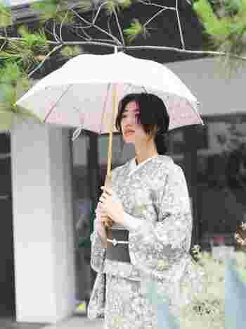 KIMONO MODERN|お出かけが待ち遠しい!人気レース着物で作る、レースの日傘 ライトベージュ  着物メーカーが作る、着物生地を使用した晴雨兼用傘。レース柄で洋装にも合うデザインながら、どこか感じる和の雰囲気が上品です。