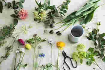 花は生き物。旬のおいしい野菜をいただくように、生けるときも喜びと愛情をもって。心掛けや触れ方を少し変えてみるだけで、花との幸せな関係が始まる気がしてきます。
