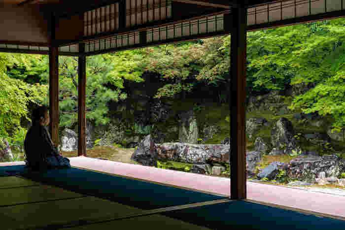 京都東山にある秀吉の菩提寺・高台寺塔頭で、妻のねねの終焉の地と言われているのが「圓徳院」。見惚れるほど美しい庭園があることでも有名で、多くの観光客が訪れる人気スポットになっています。春夏秋冬で違った顔を見せるこの庭園は、まるで絵画。一度と言わず、ぜひすべての季節に足を運びたいですね。