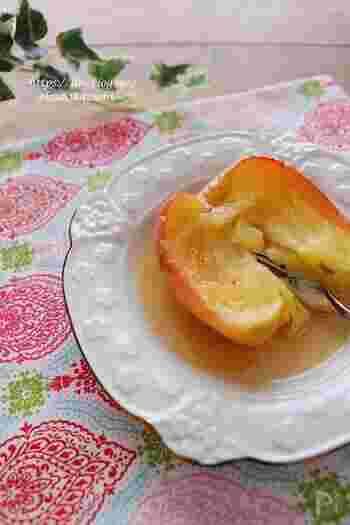 まるで焼きりんごのような風味がやみつきになる一品。火を使わずに電子レンジで作れるので、とっても簡単です。体調が万全でなくても、デザート感覚で食べられそうです。