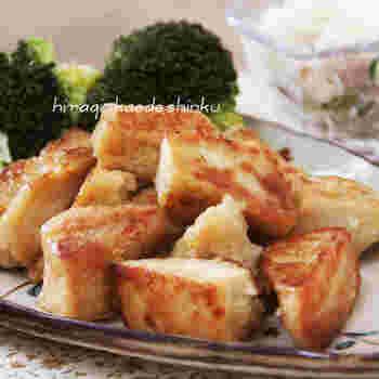 高野豆腐というと煮物のイメージが強いですが、こちらはこんがり焼き上げる意外な使い方。外はカリカリで、噛むとじゅわっとうまみがあふれます。