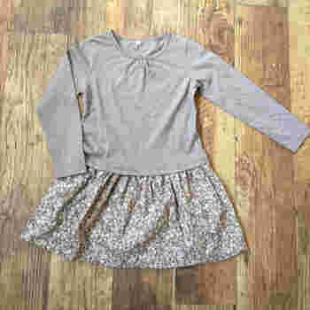 シンプルな長袖シャツの裾部分に、スカートをつけてワンピースにリメイク。シンプルなトップスでも、スカート部分が花柄だと、かわいく仕上がりますね。