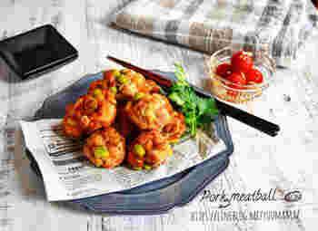 こちらは枝豆が入った豚の唐揚げ。枝豆の他にごぼうも混ぜ込んでいるので、いろいろな食感や風味が楽しめます。