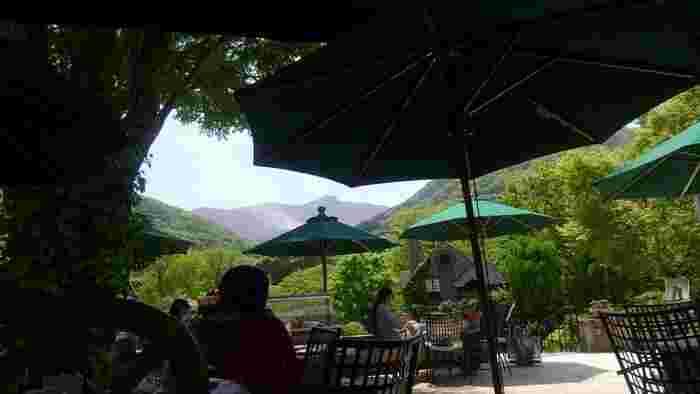落ち着いた雰囲気の店内では、高原ならではの景色や空気とともに、ゆったりと食事やカフェも楽しめます。 【大涌谷を望む「箱根ガラスの森美術館」のリストランテ「ラ・カンツォーネ」のテラス席】