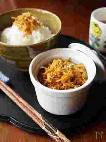 生姜を皮ごと使ったシンプルな佃煮です。生姜の味をしっかり楽しみたい方におすすめですよ。保存がきくのも嬉しいポイント。