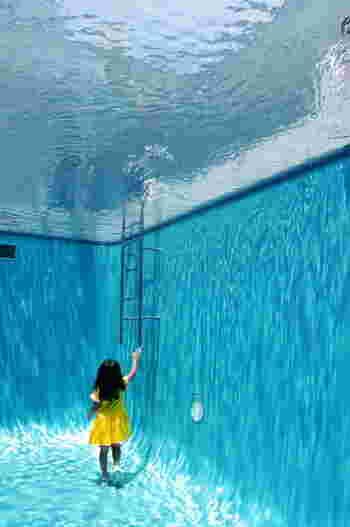 下から見上げるとあたかもプールの底から地上を見つめているような不思議な気分に。