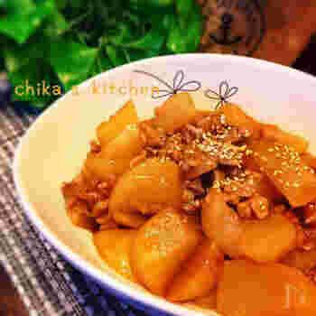 豚こまと大根を麻婆風にアレンジしたレシピ。そのままおかずとしても美味しいですがご飯にかけてもGOOD♪