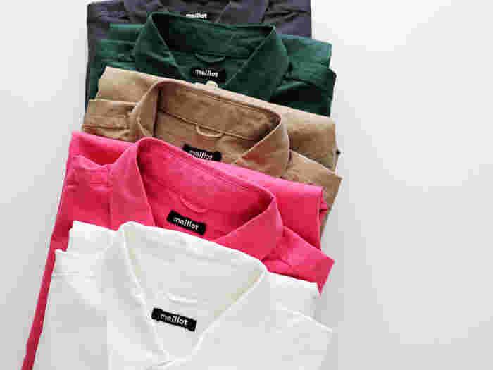 Yシャツは、面積の大きいところから小さいところへ向かってかけると効果的にきれいにかけることが出来ます。袖→肩→右前身頃→背中→左前身頃→衿の順番で当てると◎。