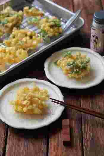 夏に食べたいとうもろこし。サクサクのかきあげは、つゆに浸して食べるのも美味しいですよ。