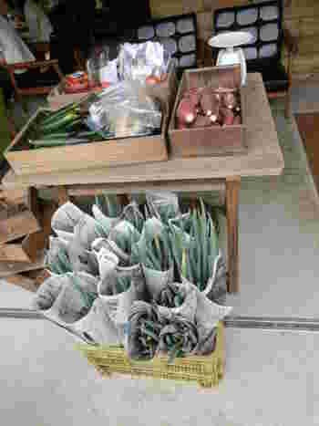 店先には、サツマイモをはじめとする採れたて野菜の直売所が設けられています。お土産につい沢山買ってしまいそうですね。