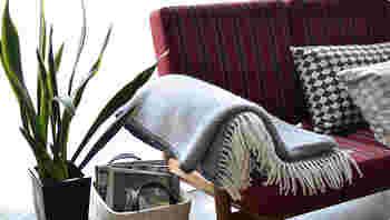 ベッドにかけるのも良いですが、ちょこっと畳んでソファやチェアにかけるのも素敵ですね。
