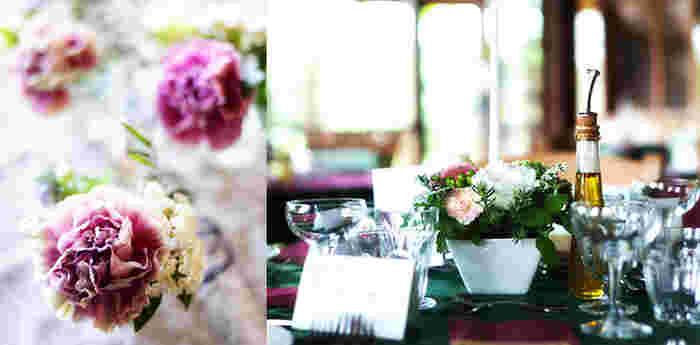 花と自然、親しい方に囲まれて、さわやかな「ガーデンウェディング」が行えます。一例として、人前式を敷地内にあるローズガーデンにて挙げ、その後レストランにて、パーティー形式での披露宴ということも。外国の映画に出てくるようなガーデン結婚式が実現できます♡