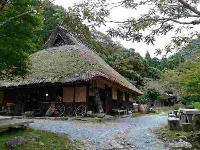 日本昔話に登場しそうな、ダイナミックな茅葺家屋。