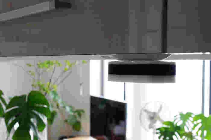 シンク上の吊り戸棚に貼り付いているスポンジ。何とも不思議な光景ですが、実はとても簡単な方法で固定されています。