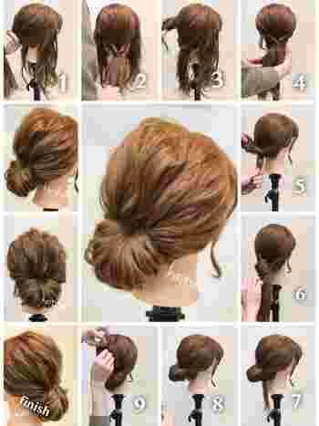 【ギブソンタックの作り方】  1. 髪全体を軽く巻いておきます。 2. 両サイドの髪とバックの髪との3つに分け、バックの毛束をゴムで留めます。 3. バックの毛束を1度くるりんぱしてゴムの根本を縛ります。 4. 両サイドの髪をバックのくるりんぱの上辺りで留めくるりんぱします。 5. 両サイドで作ったくるりんぱの毛先を、3のくるりんぱの中へ差し込みます。 6. 残った毛束を、くるりんぱの中へ入れ込んでいきピンで固定します。 7. 全体を適度に崩して完成。