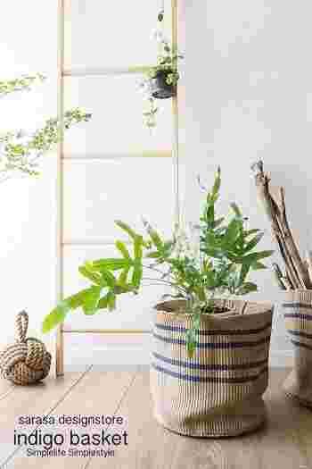 観葉植物の鉢カバーに使っても素敵。これなら部屋の模様替えをした時も、鉢のデザインと他のインテリアとの相性を心配する必要はありません。むしろ衣替えをするように、鉢カバーもあれこれ着せ替えて楽しむことができそうです。
