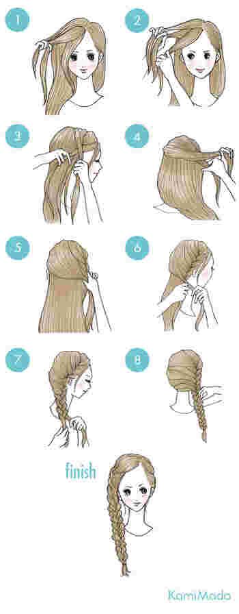サイドの編み込みアレンジも素敵ですよ。  ①サイドの髪をブロックに分けたら、耳上辺りまで三つ編みにします。(前髪が長い場合は、前髪も一緒にすると◎) ②反対側のハチ部分の髪をすくってさらに編み込み、先程取ったハチ部分の髪を下に下にすくって編み込み、出来た毛束を三つ編みにしたら完成!
