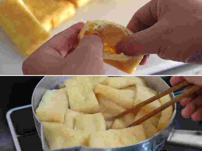 油あげの形は置いたときに安定感のある四角形に切り、切り口から親指をいれて、ゆっくり、やさしく開いていきます。鍋にお湯を沸かし、2~3分さっと茹でて油抜きを行い、水にとって冷まします。