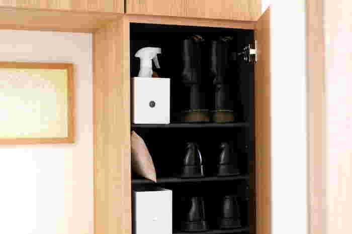 お部屋の中だけでなく、下駄箱にも入れやすい細長いサイズ。