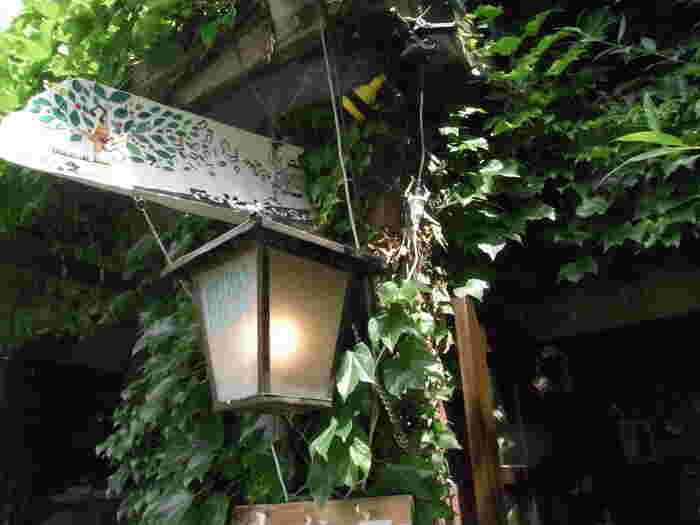 お店全体が蔦に囲まれていて独特の雰囲気のある喫茶店「ふかくさ」。静かに流れる中津川と河川敷が目の前です。暖かい日に春の風に吹かれながらゆっくりしたいお店です。