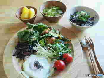 さらにひじきには、ビタミン、カリウム、カルシウム、亜鉛、マグネシウムなどのミネラル、食物繊維などが豊富に含まれているため、栄養面でのメリットも期待できるんですよ。ひじきご飯にすれば、ご飯の量を減らせるだけでなく、ご飯と一緒によく噛んで食べられるのでおすすめです♪