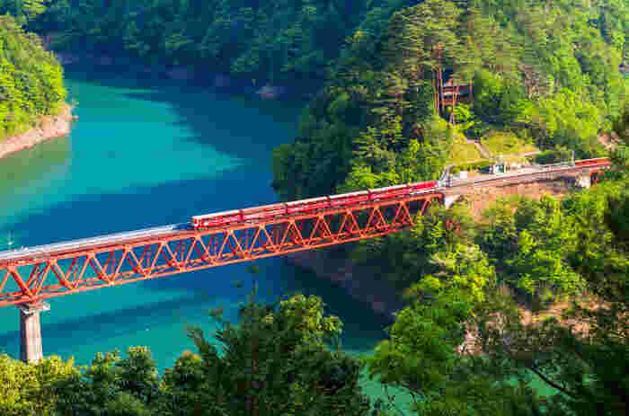 SLが走ることでも知られる、静岡県の寸又峡。南アルプスのふもとにある大間ダムによってせきとめられた人造湖にかかる夢の吊り橋は、長さ90m、高さ8m。ハラハラする吊り橋の揺れは、スリル満点。同時に、四季折々の湖や渓谷の美しさを見渡すことができ、感動も満点です。