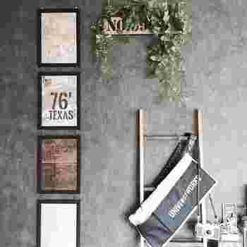 ちょっとしたDIYでヴィンテージ風アイテムを作ることも出来ますよ。 英字新聞などを使ってポスターが作れます。ステンシル、破れ、シワが入るとヴィンテージっぽくなります。