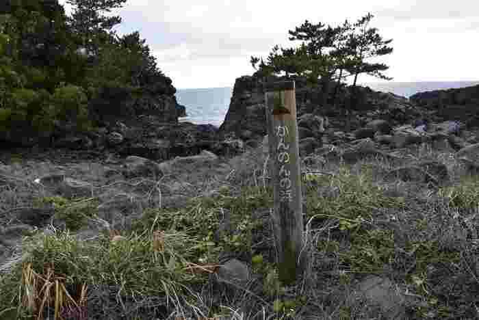 城ケ崎海岸の南、城ヶ崎自然研究路にあるかんのん浜には溶岩と自然が作ったポットホールがあり、伊東市の天然記念物に指定されています。