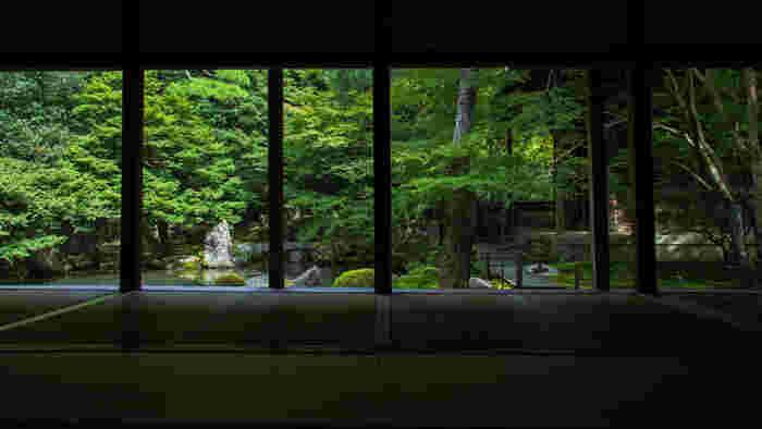 【江戸初期の素晴らしい石組みで知られる「蓮華寺」の庭園】