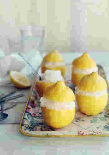 口当たりサッパリで、食欲のない日や体調の悪い日も食べれちゃうシャーベット。使ったレモンを器にして、見た目も楽しく♪