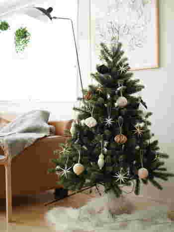 お部屋を一気にクリスマスムードに変える「クリスマスツリー」。存在感のある大きいものから、デスクの上に置ける小ぶりのサイズまで様々ですが、中くらいのものなら窓辺やチェストの上にも飾りやすいですよね。