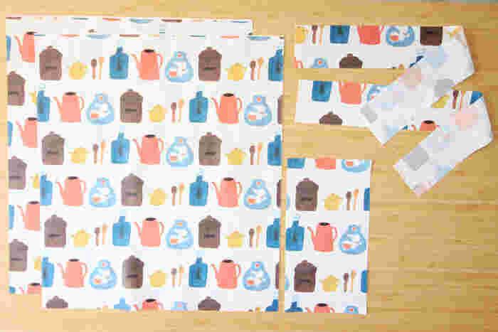 四角いトートバッグは全てのパーツを直線縫いで作れるので、初心者でも楽に縫えるアイテムのひとつ。型紙なしで布を切って、サクサク縫い合わせられます。