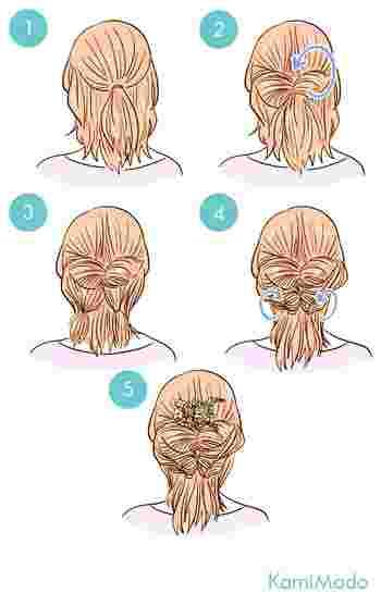 ハーフアップの結び目をくるりんぱしたら、その毛先をさらに2つに分け、くるりんぱするだけ。とっても簡単なのに後ろ姿がグッとおしゃれに。