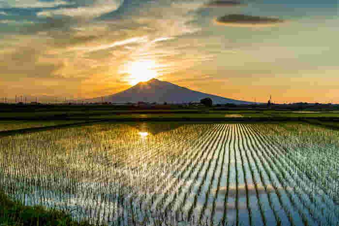 青森県内で最も標高が高く、広く裾野を引いた姿が雄美なことから「津軽富士」と言われている「岩木山」。津軽平野からであれば、どこからでもその立ち姿をみることできます。