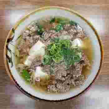 プラス50円でお豆腐入りも注文できます。ふわふわのお豆腐がだしに馴染んでこちらも人気です。
