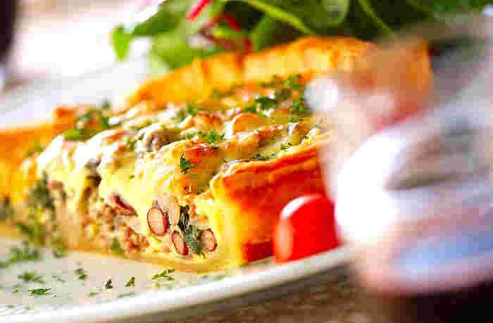 肉・豆・野菜・卵…栄養たっぷりの食材をふんだんにつかったキッシュは、メインになる贅沢なメニュー。パーティーなどにもおすすめです。