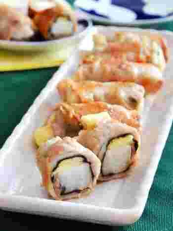 棒状に切った長芋を海苔とチーズ、豚肉で巻いて焼いた見た目も可愛いおかずです。切り口がきれいなので、お弁当のおかずに子供も喜んでもらえそうです。