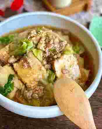 中華あんかけにも厚揚げをプラス。少ないお肉でも満足できるおかずの出来上がり。中華の味付けでしっかりご飯のおかずにもなりますよ。
