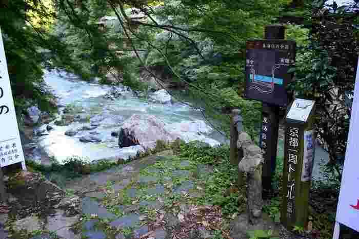 """道の要所要所には、行く先と距離を標した道標があるので、道に迷う心配はありません。【画像は、東海自然歩道と京都一周トレイルの標識が出ている「清滝」と「落合」の間、""""渡猿橋""""地点。】"""