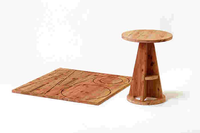 リビングのコーヒーテーブルや寝室のサイドテーブルとしても大活躍するサイズ。植物を飾ったり、ちょっとした小物を置いたりと色々な使い方ができそうです。丸いテーブル面がやさしい印象。