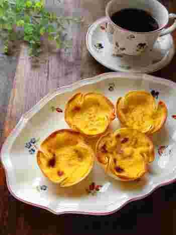 砂糖やバターも使わないため、パイやクッキー生地に比べてとてもヘルシーな餃子の皮。甘〜いエッグタルトのカップに使ったら、いつもより罪悪感少なめに食べられそうです。